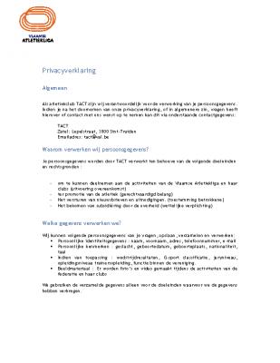 KTACT – Privacyverklaring